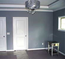 The white trim really sets off the otherwise dark walls.  Striking!