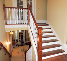 Stairway balusters and risers.